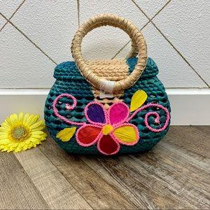 Bright Floral Wicker Purse or Trinket Basket